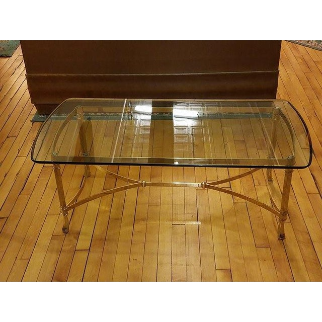 Hollywood Regency Italian Brass & Glass Coffee Table - Image 7 of 8