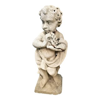 Early 19th Century Antique French Carved Limestone Cherub Garden Statue For Sale