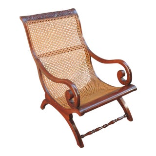 19th C West Indies Regency and Cane Campeche Chair