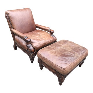 Stickley Cibola Leather Club Chair With Ottoman - A Pair