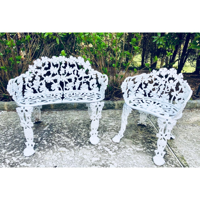 Antique Victorian Cast Iron Garden Bench & Chair For Sale - Image 12 of 12