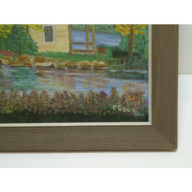 "F. Cobler ""Cabin by the Water"" Original Framed Painting on Board For Sale - Image 5 of 6"