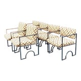 Image of Midcentury Arched Chrome and Embroidered Suede Dining Chairs - Set of 6 For Sale