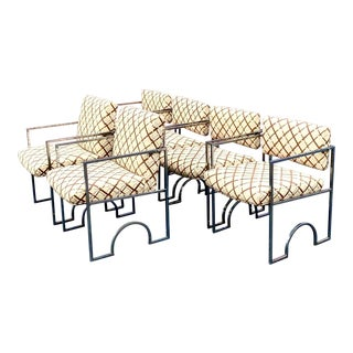 Midcentury Arched Chrome and Embroidered Suede Dining Chairs - Set of 6 For Sale
