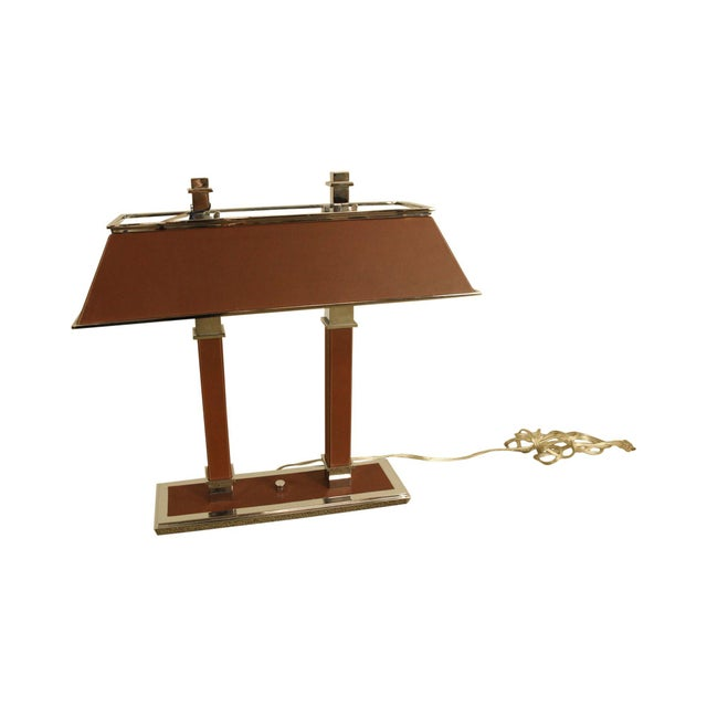 Ralph Lauren Leather & Chrome Double Student Desk Lamp For Sale - Image 12 of 12