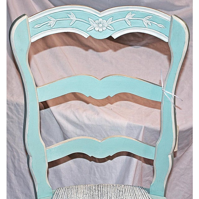 French Country Pale Blue Chair For Sale - Image 4 of 6
