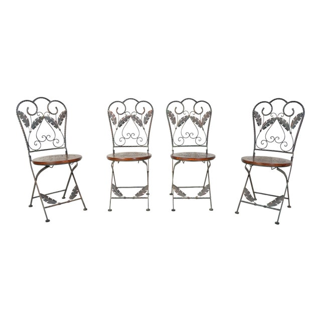 4 Folding French Bistro Chairs in Oak and Wrought Iron For Sale