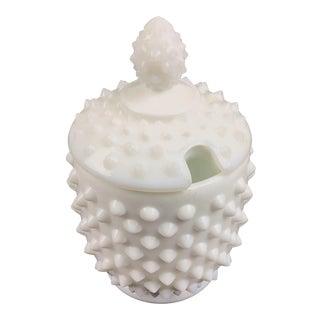 Vintage White Milk-Glass Hobnail Salt Cellar For Sale