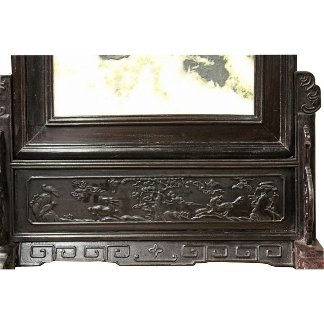 Rosewood Chinese Dream Stone Fengshui Rectangular Table Top Display Art For Sale - Image 7 of 10