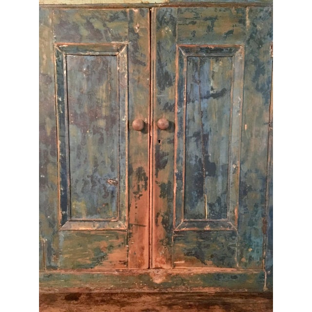 Country Mid 19th Century Antique Blue Step Back Cupboard For Sale - Image 3 of 9