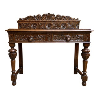 19th Century English Carved Oak Hall Sofa Foyer Table Renaissance Style Lion For Sale