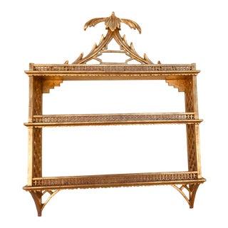 Italian Gold Gilt Palm Pagoda Wall Curio Shelves For Sale