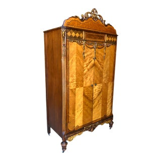Antique Victorian Heavily Carved Burl Walnut Cedar Lined Armoire For Sale