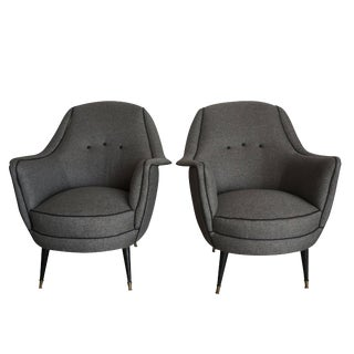 20th Century Italian Gray Denim Upholstered Lounge Chairs - a Pair For Sale