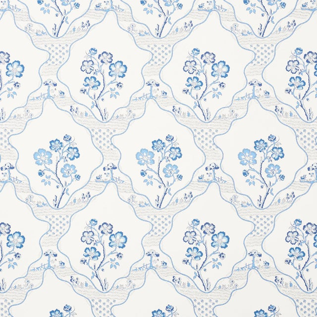 Contemporary Schumacher Marella Wallpaper in Delft For Sale - Image 3 of 3