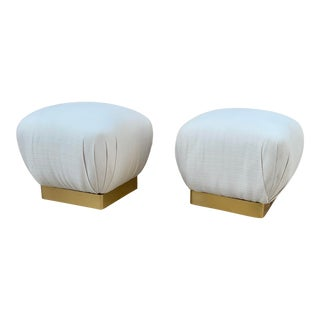 Vintage Poufs With Brass Bases by Marge Carson - a Pair For Sale