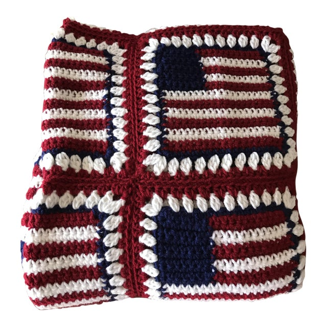 "American Flag Handmade Throw Blanket - 48"" x 64"" For Sale"