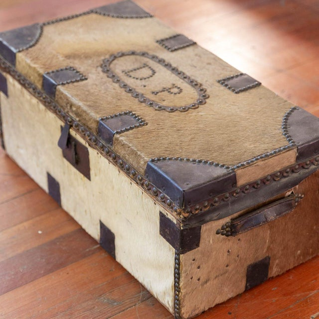 Incredibly cool antique cowhide trunk with DP initials by Nathan Neat Company! Made in Boston 1822-1847 with original key!