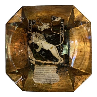 Mid-Century Glass and Decoupage Astrological Leo Ashtray For Sale
