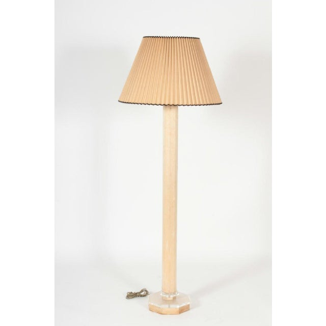 Transparent Lucite and Cerused Floor Lamp For Sale - Image 8 of 8