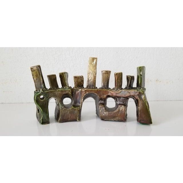 1980s Vintage Sdewitt Brutalist Art Pottery Menorah . For Sale - Image 5 of 12