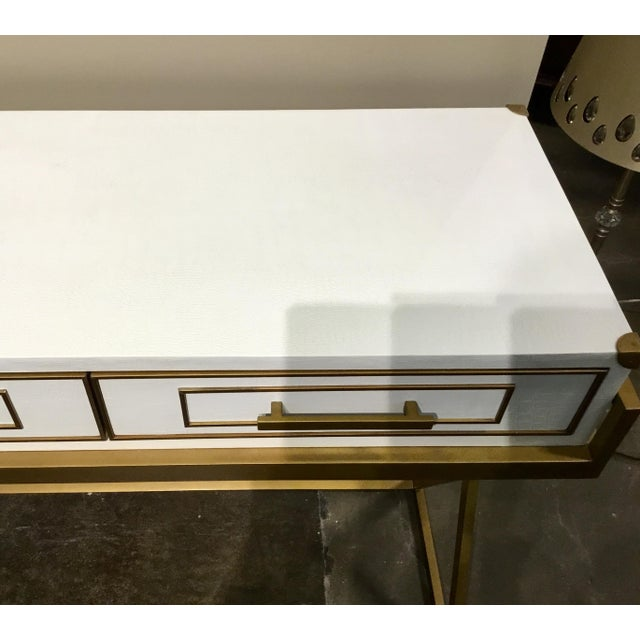 Hollywood Regency Currey & Co. Modern Regency White and Brass Console Table For Sale - Image 3 of 7