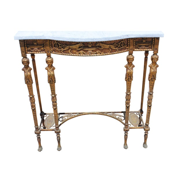 1920s Art Deco Marble Top Iron Table For Sale - Image 4 of 11
