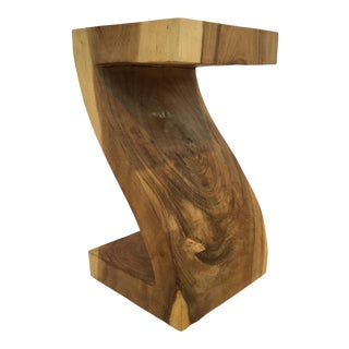 Contemporary Live Edged Acacia Wood Side Table For Sale