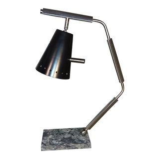 Mid-Century Modern Steel and Carrera Marble Task Lamp For Sale