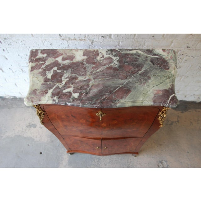 Brown 19th Century French Inlaid Marquetry Marble Top Abattant Secretaire For Sale - Image 8 of 13