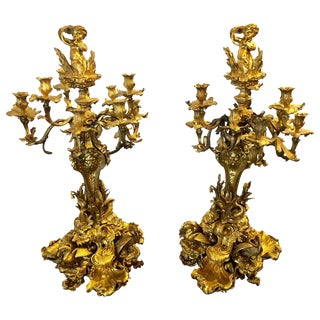 Pair of Monumental 19th Century Gilt Bronze Louis XV Nine Light Candelabrum For Sale
