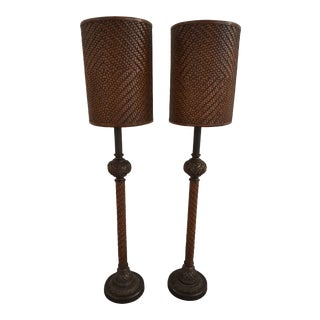 Theodore Alexander Leather Woven Tall Table Lamps - a Pair For Sale