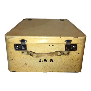 Elegant Vintage Vellum Suitcase Satin Insides For Sale