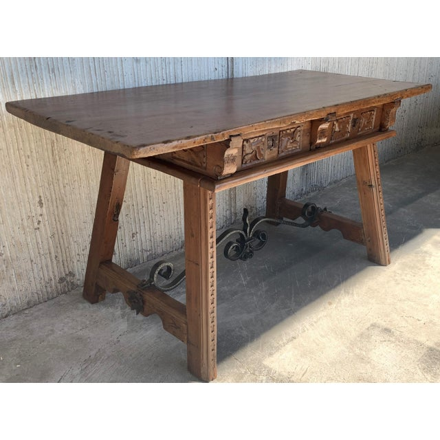 18th Century Spanish Baroque Walnut Trestle Table, Restored For Sale - Image 4 of 13