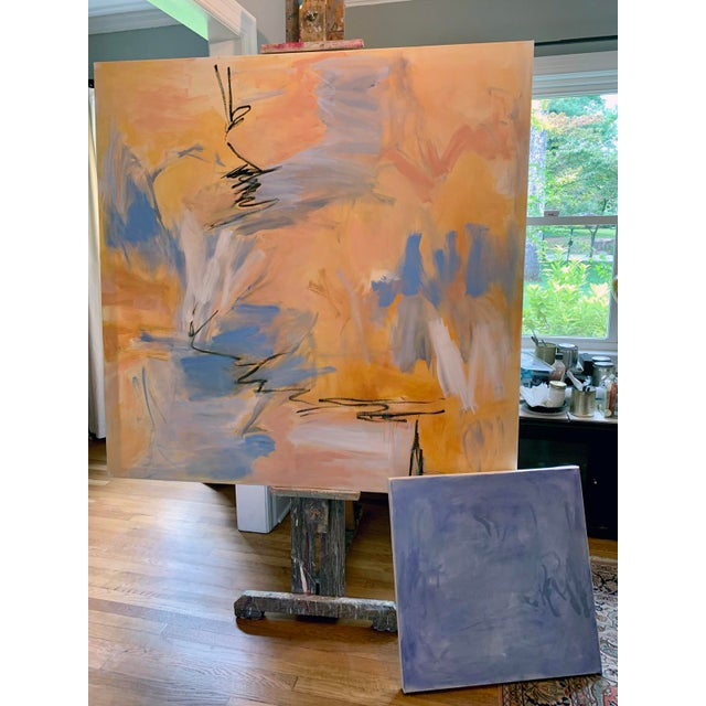 """""""Blue Zen"""" by Trixie Pitts Abstract Oil Painting For Sale - Image 12 of 13"""