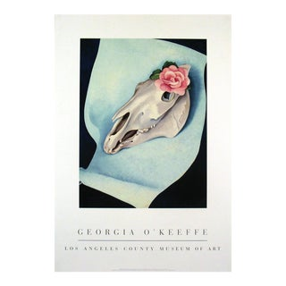 "Georgia O'Keeffe Horse's Skull With Pink Rose, 1931 32"" X 22"" Poster 1995 Modernism For Sale"