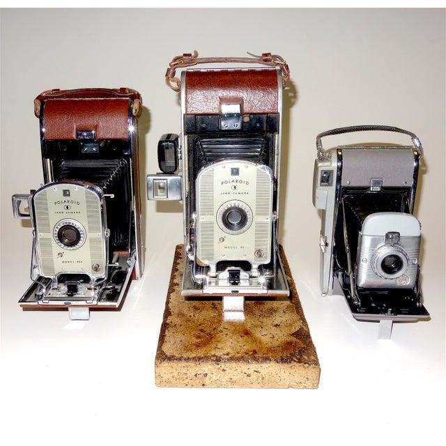 Metal Early Large Polaroid Camera Circa 1948-1959 Iconic Rare Display Camera on Polished Travertine Stone Base For Sale - Image 7 of 13