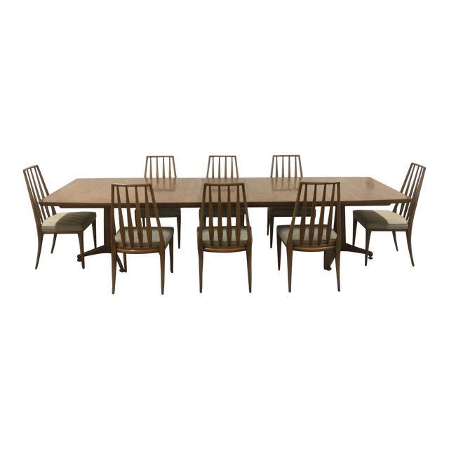 John Widdicomb Mid-Century Dining Table & Chairs - Set of 9 For Sale
