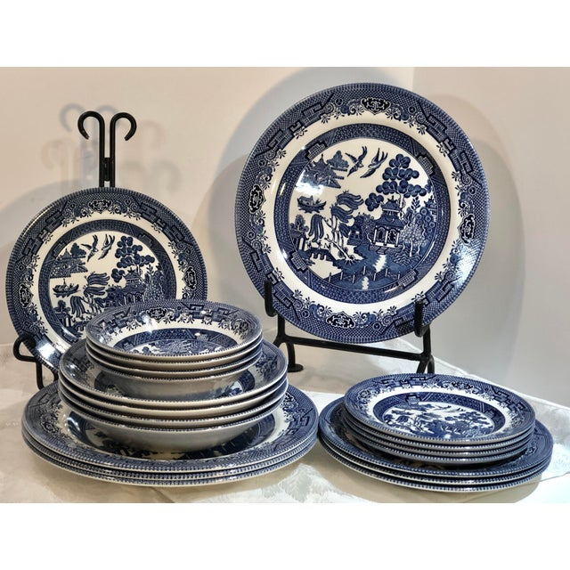 Traditional English Churchill Blue Willow Dinner, Bread, Salad Plates, Soup, Cereal Bowls - 20 Pieces For Sale - Image 13 of 13