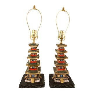 Chinese Pagoda Form Ceramic Lamps - a Pair For Sale
