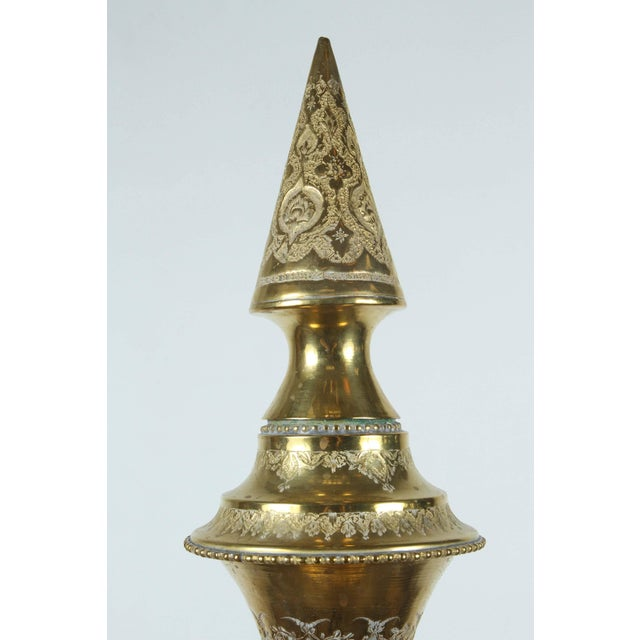 Early 20th Century Tall Persian Polished Brass Decorative Urn For Sale - Image 5 of 8