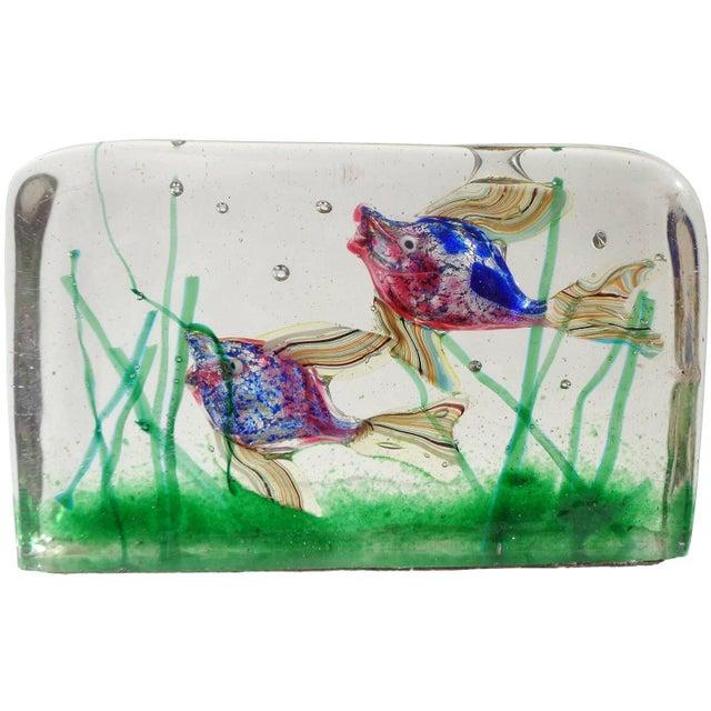 Figurative Cenedese Murano Pink Blue Silver Fish Italian Art Glass Aquarium Block Sculpture For Sale - Image 3 of 8