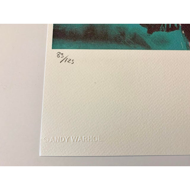 """Pencil Turquoise Andy Warhol Limited Edition """"Liz, 1964"""" Stone Signed, Numbered, and Authenticated Lithograph For Sale - Image 7 of 12"""