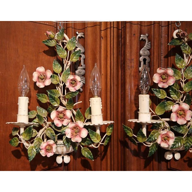 Early 20th Century French Hand-Painted Metal Sconces With Flowers - A Pair - Image 3 of 8