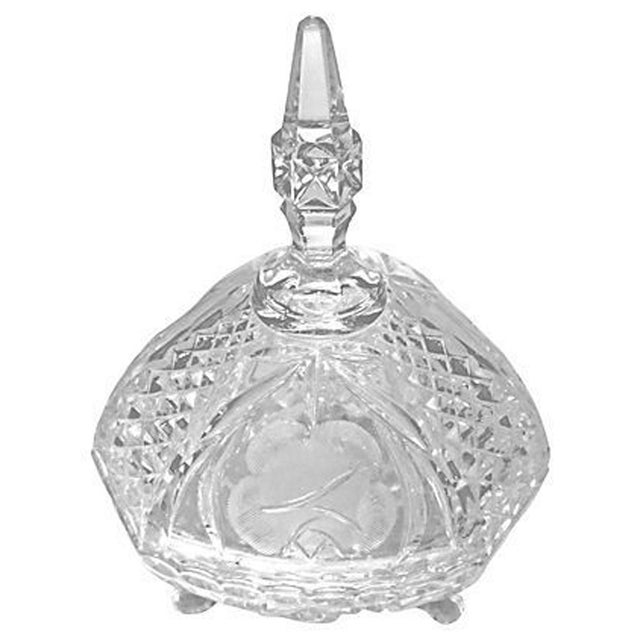 Crystal Candy Dish With Lid and Etched Roses - Image 1 of 5