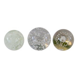 Collection of White and Clear Paperweights - Set of 3