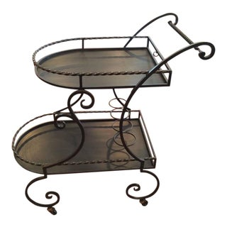 Wrought Iron Rolling Tea Cart