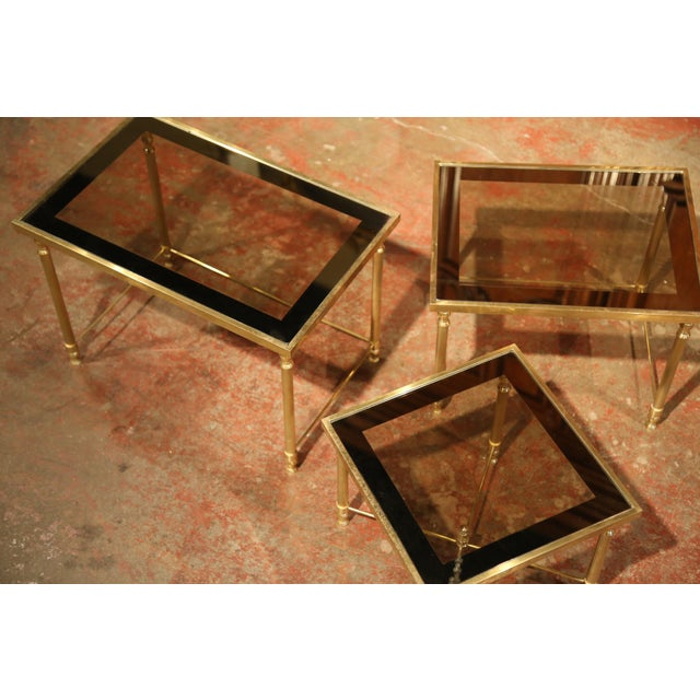 1940s Set of Early 20th Century, French Brass Nesting Tables Gigognes For Sale - Image 5 of 9