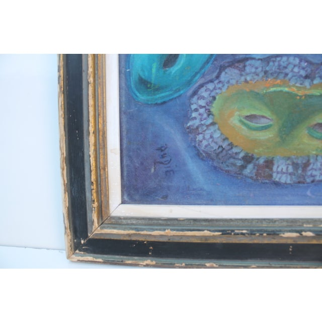 Blue Mid-Century Masks Painting For Sale - Image 8 of 10