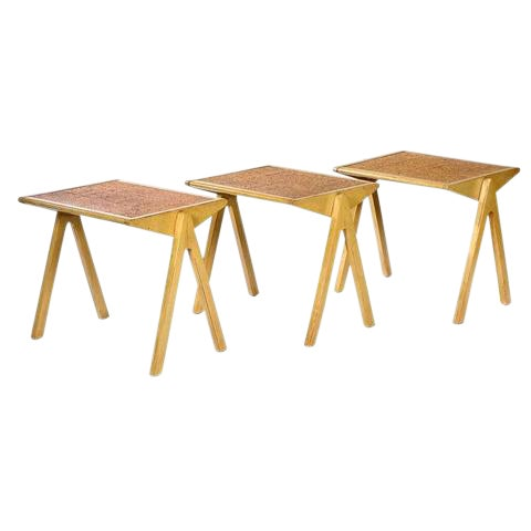 Vintage Jon Jansen Cork Top Stacking Tables - Set of 3 For Sale